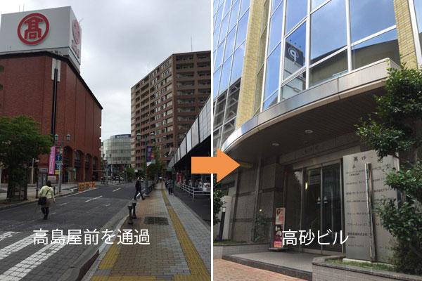JR高崎駅西口から原一・高崎拠点への道